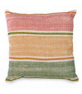 Square cushion with yellow, green and pink stripe