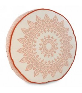 Ornate pattern round cushion  White and coral