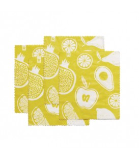 Set of 4 Small Yellow Reusable Food Wraps Eco collection RICARDO