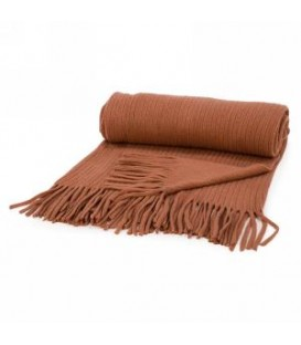 Burnt orange throw with fringe