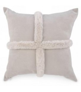 Beige cushion with faux fur trim