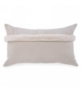 Rectangle beige cushion with faux fur trim