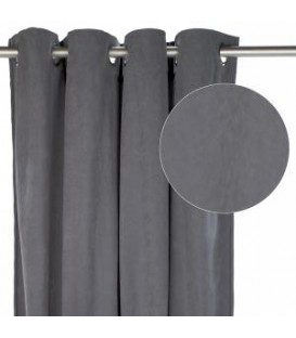 Steel grey suedette curtain