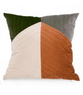 Suedette cushion in green & beige