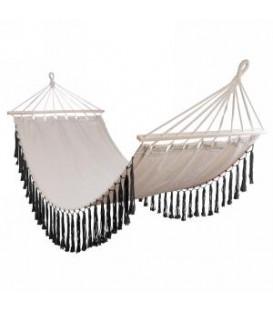 Beige hammock with black fringe