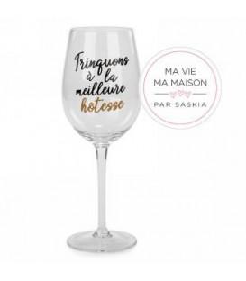 Verre à vin TRINQUONS À LA MEILLEURE HÔTESSE