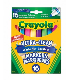 Ultra-Clean Washable Broad Line Markers, Assorted Colours