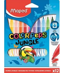 12 marqueurs de couleurs jungle MAPED