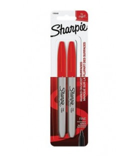 Paquet de 2 crayons Sharpie rouge à pointe fine