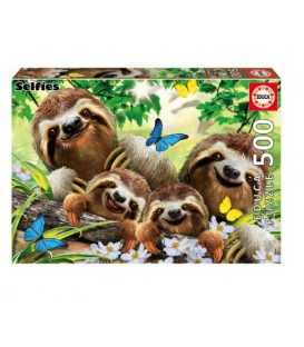500 pieces puzzle - Sloth family selfie