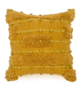 Mustard yellow cushion with loop motif
