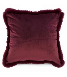 Burgundy velvet cushion with faux fur