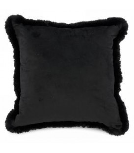 Black velvet cushion with faux fur