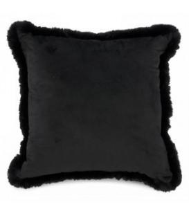 Coussin en velours noir avec fausse fourrure