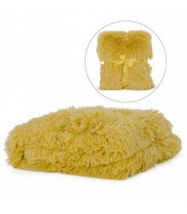 Mustard yellow faux fur throw