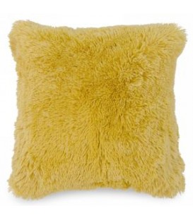 Mustard yellow faux fur cushion
