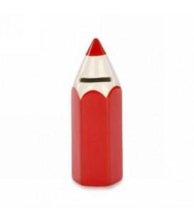 Tirelire petit crayon rouge en céramique