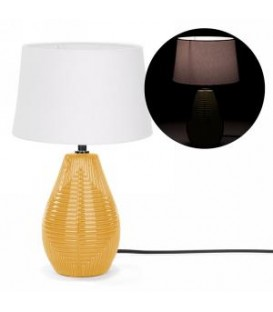Table lamp with yellow ceramic base