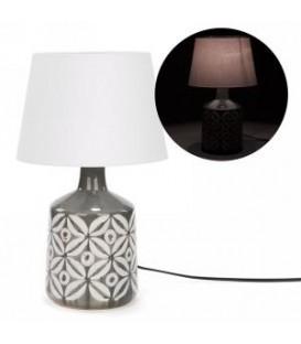 Lampe de table grise avec motif de fleur