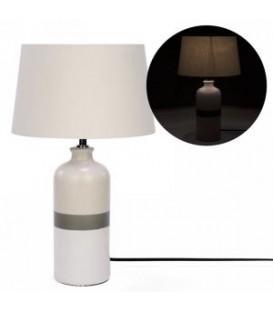 Grey striped base table lamp