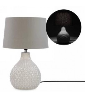 Table lamp with grey ceramic base