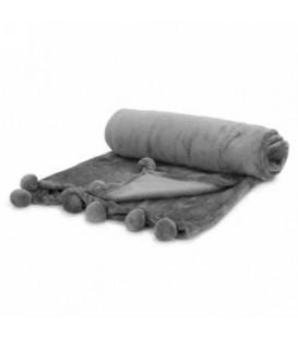 Grey throw with pompoms