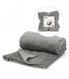 Dark grey lined motif throw