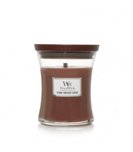 SMALL CRACKING CANDLE WOODWICK STONE WASHED SUEDE