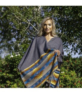 Reversible gray and black poncho