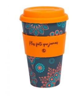 Tasse à café réutilisable en fibre de bambou - Mandala