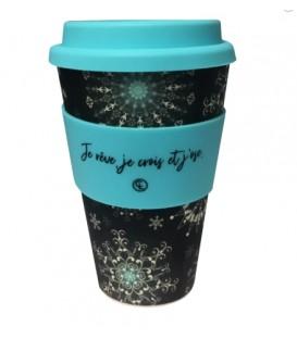 Tasse à café réutilisable en fibre de bambou - Flocons
