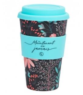 Tasse à café réutilisable en fibre de bambou - Fleur