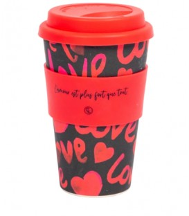 Bamboo Fiber Reusable Coffee Mug- love