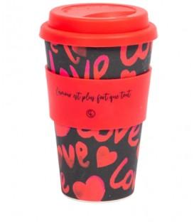 Tasse à café réutilisable en fibre de bambou - Amour