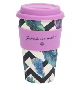 Bamboo Fiber Reusable Coffee Mug- Feathers