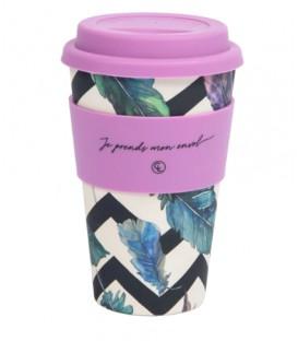 Tasse à café réutilisable en fibre de bambou - plumes