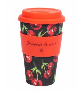 Bamboo Fiber Reusable Coffee Mug- cherry