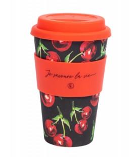 Tasse à café réutilisable en fibre de bambou - cerise noir