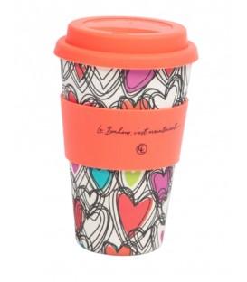 Bamboo Fiber Reusable Coffee Mug- Le bonheur c'est maintenant