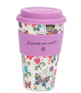 Bamboo Fiber Reusable Coffee Mug- butterfly
