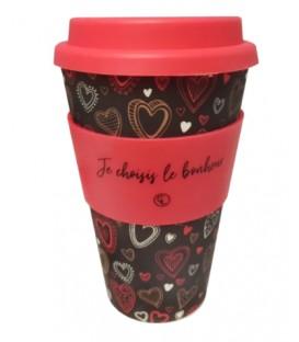 Tasse à café réutilisable en fibre de bambou - bonheur