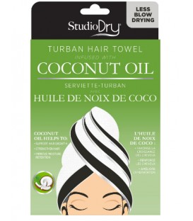 Hair towel infused with coconut oil