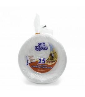 "Large Styrofoam Plates 9 ""- pkg 15"