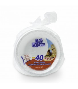 "Large Styrofoam Plates 9 ""- pkg 40"