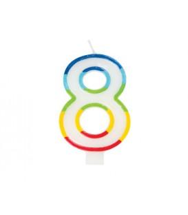 Rainbow Border Number 8 Birthday Candle
