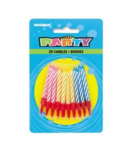 Paquet de 20 chandelles avec supports