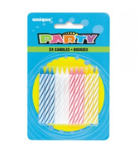 Multicolor Spiral Birthday Candles, 24ct