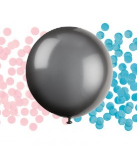 Black Giant Gender Reveal Latex Balloon with Confetti