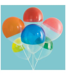 "Two-Tone Dipped Rainbow 12"" Clear Latex Balloons, 6ct"