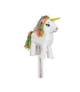 White Unicorn 3D Pull Pinata